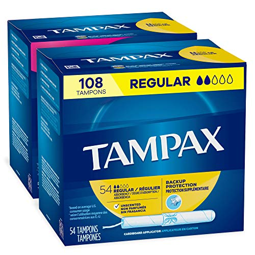 Tampax Cardboard Applicator Tampons, Regular Absorbency, 54 Count - Pack of 2 (108 Total Count)