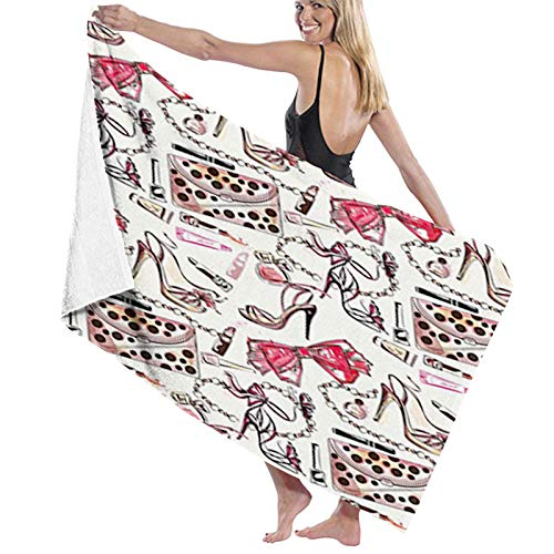 Microfibre Towel Ultra Lightweight & Fast-Drying,Feminine Shoes Lipstic Perfume Accessory Fancy Items for Beauty Pattern Image, The Sports Towel Camping Towel and Swim towel1