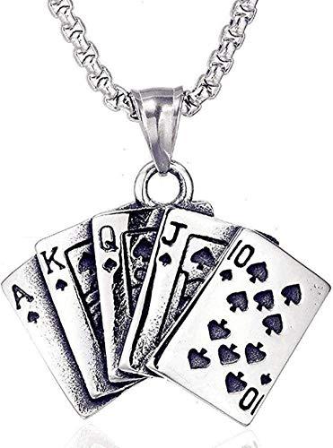 NC190 Collar de Moda Hombres Hip Hop Titanio Acero Poker Corazón Colgante concéntrico Joyería de Acero Inoxidable Clásico Encanto Tendencia Hip Hop Personalidad Moda Fiesta Collar Colgante