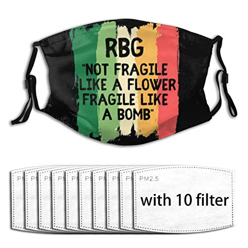 Notorious RBG (Ruth Bader Ginsburg) Reusable Windproof Mask Face Cover for with 10 Filters