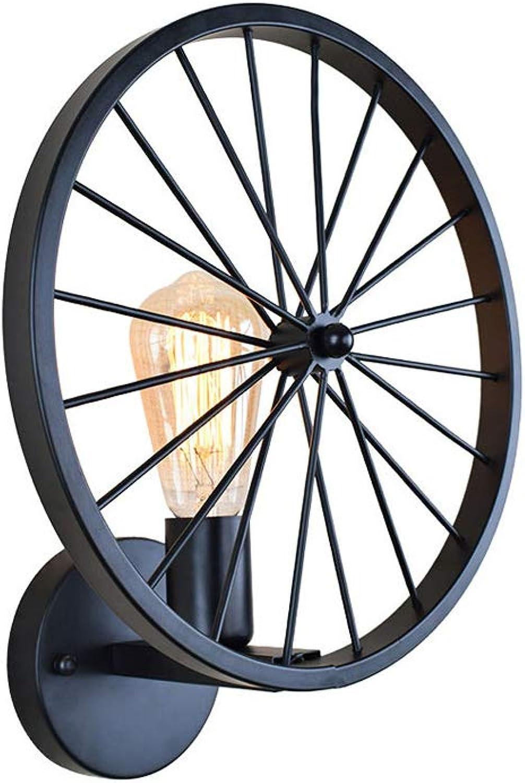 Wandleuchte, Einfach Rad Modellierung Aussen Design Metall Industrial Stil Wandlampe Halter E27 für Innen, Treppenhaus flur, Küche, Wohnzimmer, Schlafzimmer Wand, Schwarz