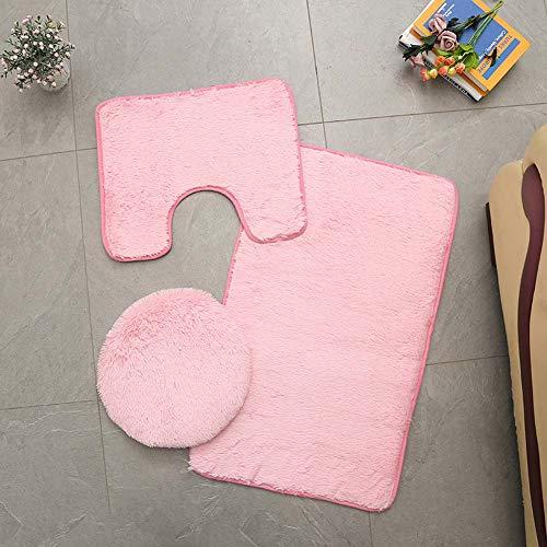 Homieco Einfarbiger Badteppich 3-teilig Weiches, saugfähiges, rutschfestes Badteppichset Teppiche und Toilettendeckelbezug-Set Waschbar, Rosa
