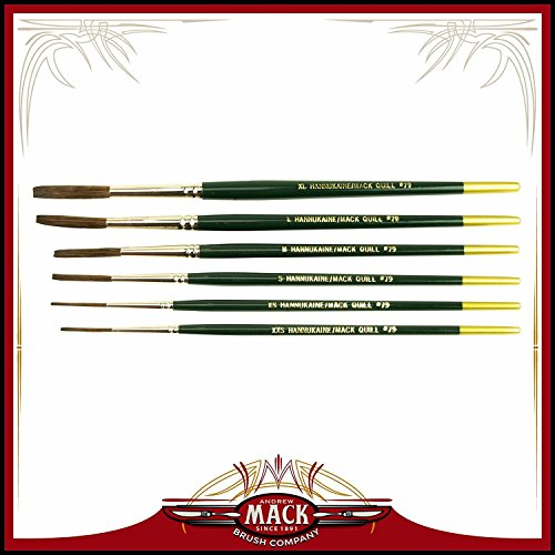 (6) Andrew Mack Brush Hannukaine Quill Brushes Series 79 Size XXS - XL Mixture Squirrel Taklon