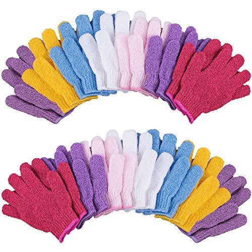 Duufin 14 Paare Peeling-handschuhe Body Scrubbing Handschuh Entfernen Abgestorbene Hautschüppchen für Erwachsene und Teenager, 7 Farben