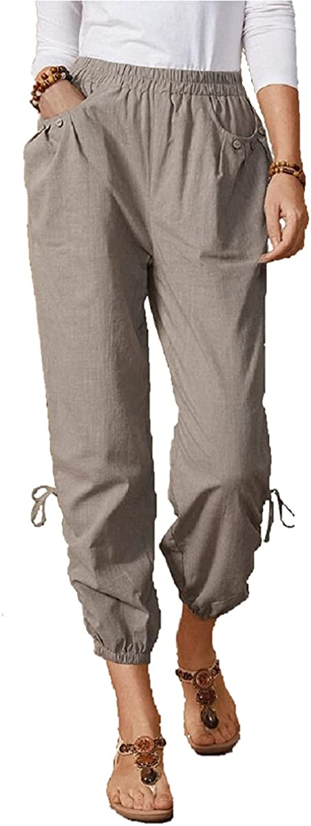 Grlasen Women Elastic Waist Drawstring Pants Casual Cotton Solid Color Pocket Trousers