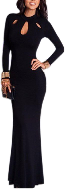 Engood Women's Elegant Slim Long Sleeve Hollow Out Bodycon Maxi Dress