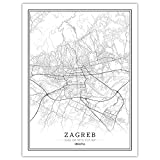 Drucke Leinwand, Kroatien Zagreb Stadtplan Schwarz Weiß