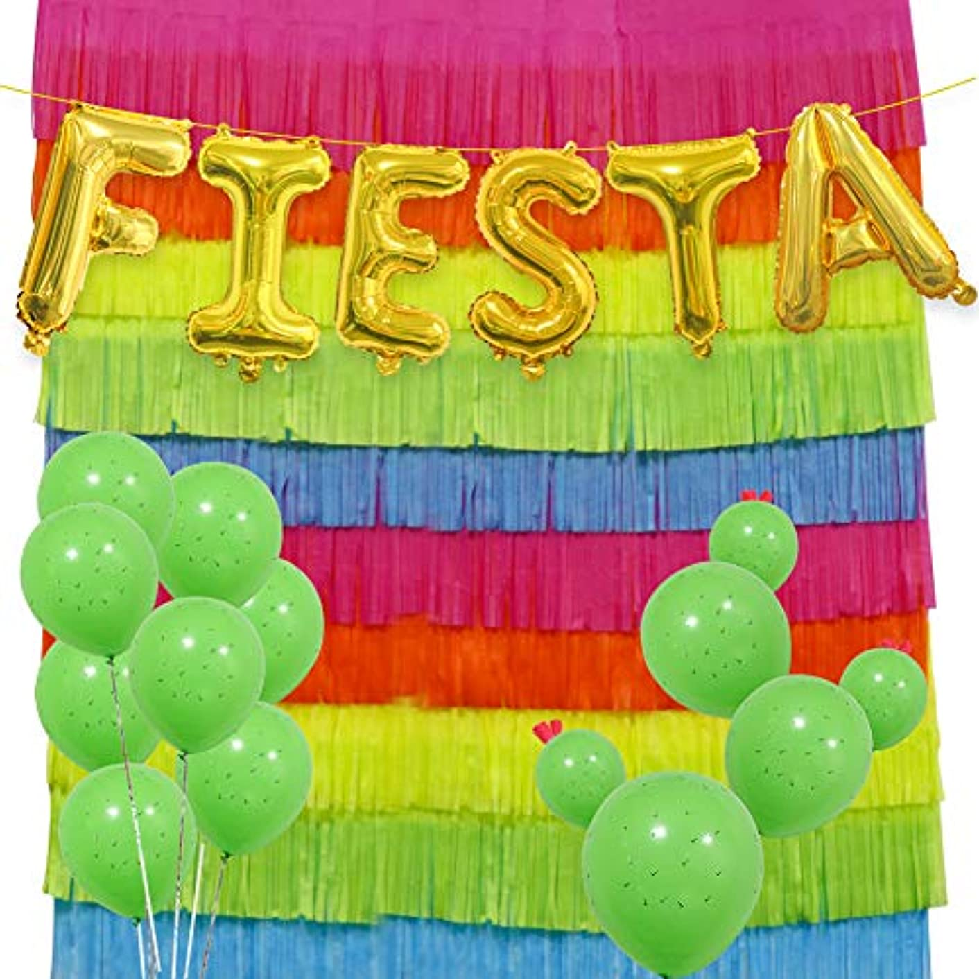 Fiesta Party Decorations Set, 16 INCH Fiesta Mylar Letter Balloons Cinco De Mayo Mexican Festival Paper Fringe Garland Photography Background Cactus Latex Balloons for Party Supplies