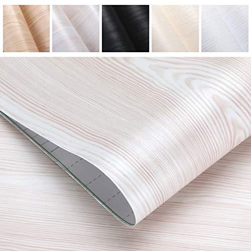 PROHOUS Möbelfolie Holz Möbelaufkleber Holzoptik 0.61 * 5M Tapete PVC Dekorfolie Selbstklebend Möbel Vintage Klebefolie Möbel Folie Cremeweiß Wandtapete für Tür Büro Umweltschutz Wohnzimmer