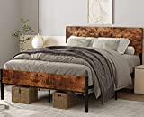 Full Bed Frame with Headboard, Rustic Bed Frame Full Size, Wooden Bed Frame 12'...