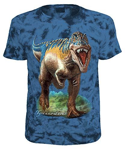Kinder T-Shirt Dinosaurier Tyrannosaurus T-Rex Shirt Blau Batik Größe 128