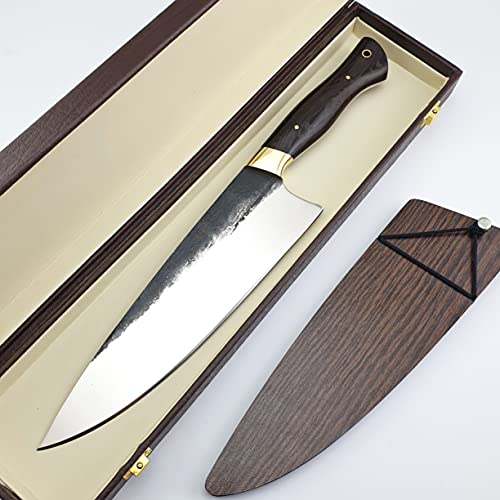 Vetus Multipurpose Chefs Knife with Finger Guard|8 inches 12C27 Stainless Steel Super Sharp Chefs Knives| Ergonomic Wangy Handle Comes With Saya and Gift Box