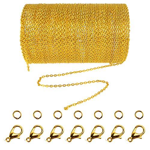 Cadena de eslabones de acero inoxidable de 10 metros con 30 anillas abiertas y 20 cierres de langosta para hombres y mujeres, cadena para hacer bisutería (1.5 mm). dorado