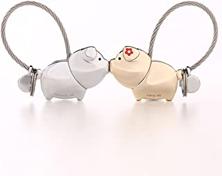 CXQ Kissing Pig Couple Key Ring A Pair of Creative Key Chain Men and Women Cute Key Ring Car Key Pendant (Color : C)