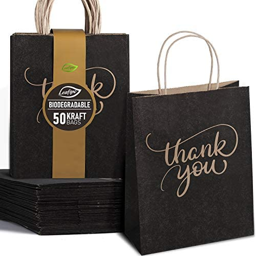50 Pack Black Paper Thank You Bags With Handles Bulk Plain Gift Bags Medium Size 8 x 4 75 x product image