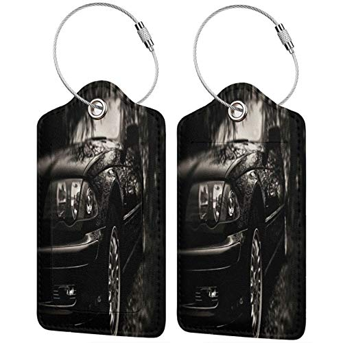 FULIYA Travel Luggage Suitcase Labels ID Tags Business Card Holder, Set of 2,Car, Lights, Bw