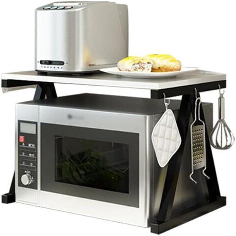 BJLWT 2-Tier Microwave Oven Rack with Hooks,Home Kitchen Stand Counter Storage Shelf Organizer,Rectangle,Black,(Size L57cm X W37cm X H37.7cm) Goods Racks