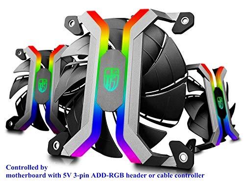 DEEP COOL MF120S 3x120mm PWM PC Gehäuselüfter und Kühlerlüfter, Case Fan, 5V 3-Pin ARGB LED Lüfter