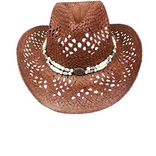 Chapeau de paille Cowboy Western Hat Strohhut UNI-AB-031 (MARRON (BRAUN))