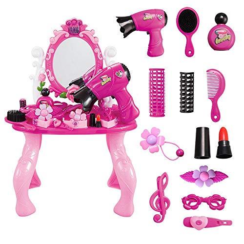 KYEEY Coiffeuses pour Enfants Jouer Maison Toy Enfants Fille Princesse Dresser Toy Set de Table de Maquillage Lumière Ensembles de Tables et chaises pour Enfants (Color : Pink, Size : 32x18x47cm)