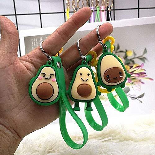 Buyaoku Llavero 3 uds Dibujos Animados Lindo Fruta Aguacate muñeca Llavero Mujer Chica Coche Bolsa Colgante cinturón joyería Llavero Creativo Llavero Regalo