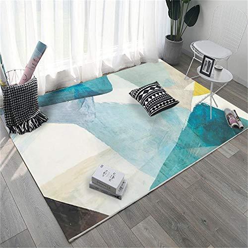 Alfombras Alfombra de habitacion Alfombra de Tinta de Crema Azul Antideslizante, fácil de Limpiar decoración habitación Juvenil decoración hogar 80*160cm