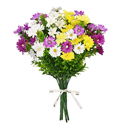Martine Mall 6 Bouquets Daisies Artificial Flowers Faux Silk Daisy Wildflowers Fake Colorful Daisy Bouquet for Vase Porch Window Table Patio Centerpieces Home Outdoor Decoration, Multi-Color