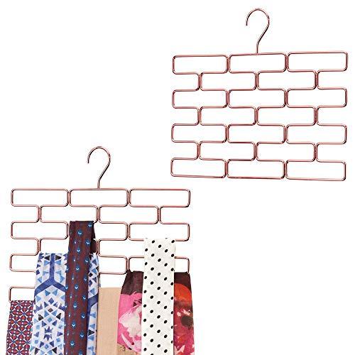 MDESIGN Metal Closet Rod Hanging Storage Organizer Rack - Scarf Holder for Bedroom, Closet, Entryway, Mudroom - Hold Ties, Belts, Yoga Pants, Leggings, Accessories, Snag Free, 2 Pack - Rose Gold