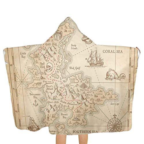 Pirate Old Antique Treasure Map Retro Poncho con Capucha Bath Beach Pool Towel Albornoz para niñas Niños Niños Niños pequeños Adolescentes
