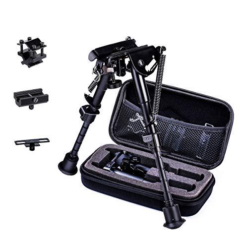 Zeadio Bípode Ajustable Extensible con 3 adaptadores y Estuche Protector (15 a 23 cm / 6 a 9 Pulgadas)