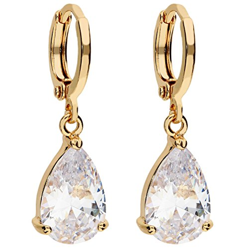 MYA art Premium Damen Goldene Creolen Ohrringe Hängend Ohrhänger mit Zirkonia Stein Tropfen-Anhänger Gold Vergoldet Gelbgold Weiß MYAGOOHR-31