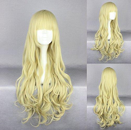 Ladieshair Cosplay Perücke blond wellig mit geradem Pony 75cm