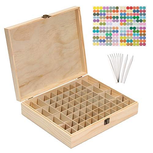 MKNZONE Holz Aromatherapie Geschenk-Box, 68 Löcher Holz Box Veranstalter Aufbewahrung Koffer Box für Nagellack, Duftöle, Ätherisches Öl, Stain und Lippenstift