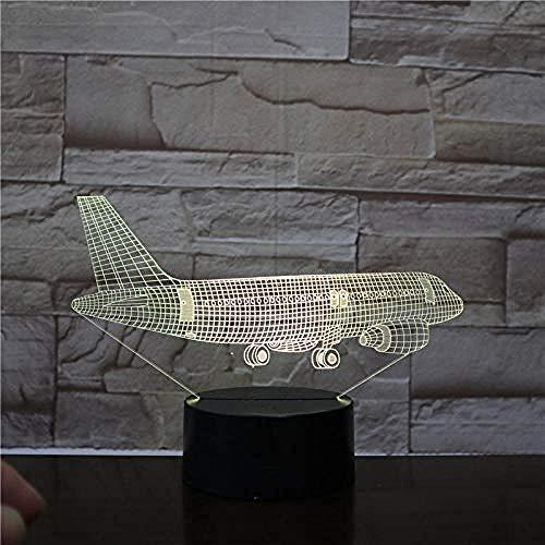 LWYFADS Veilleuse 3D pour Enfants,Flying Plane 3D Lampe 7 Couleurs LED Commutateur Petite Veilleuse Lumières Colorées Ambiance Lampe Chambre Lumière pour Cadeau