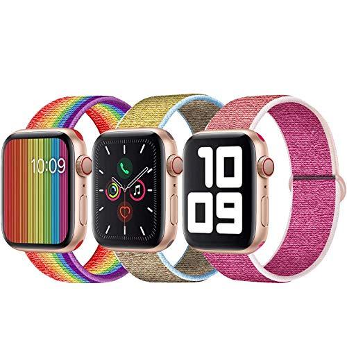 SSEIHI Kompatibel mit Apple Watch Armband 42mm 44mm,Soft Sport Loop Leichter Atmungsaktiver Nylon Armband Für die iWatch Serie 5/4/3/2/1, Sport+, Edition,Pride/Camel/Pomegranate