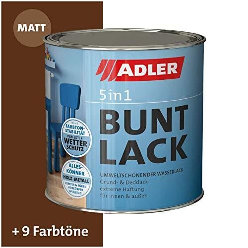 ADLER 5in1 Buntlack für Innen und Außen - Matt - 375ml- Wetterfester Lack und Grundierung für Holz, Metall & Kunststoff, RAL8011 Nussbraun
