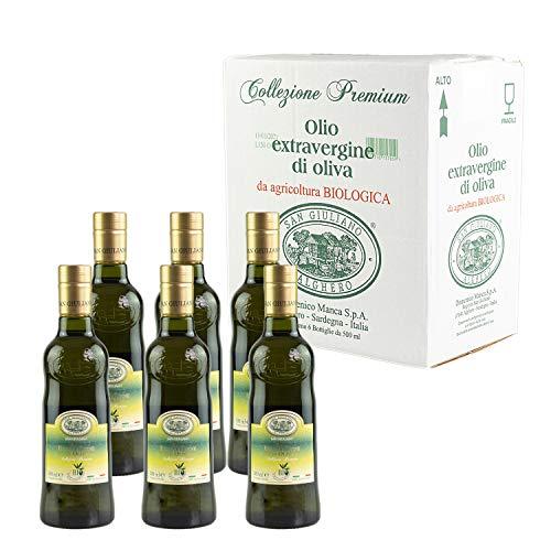 San Giuliano Olio Extra Vergine di Oliva da Agricoltura Biologica 6 Bottiglie da 500 ml