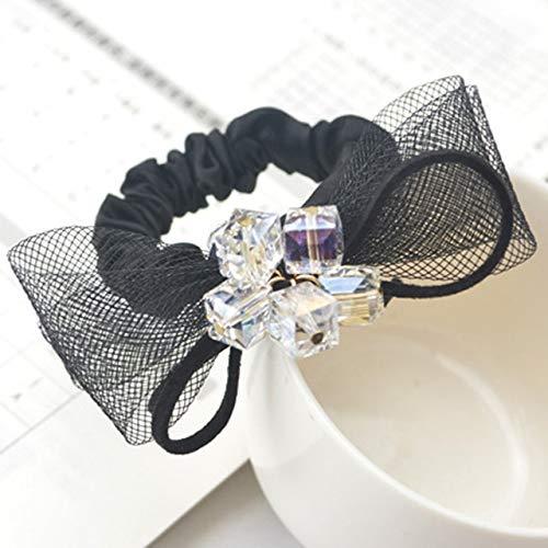 TSEINCE Mesh lint boog elastische haarband de parel rose strass haar touw mode vrouwelijke haaraccessoires