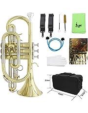 ポケットトランペット,キャリングケースグローブクリーニングクロスブラシ付きプロフェッショナルBbフラットコルネット真鍮楽器