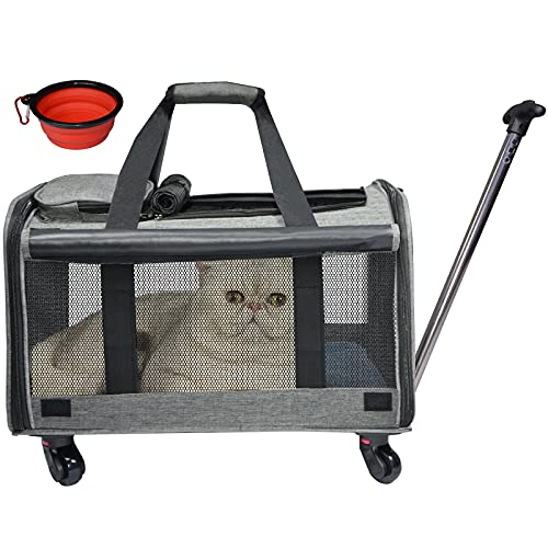 Coopeter Cat Wheel, Dog Carrier Airline Approved with Durable Mesh Panels, Pet Carrier with Telescopic Walking Handle,Easy to Fold,Grey