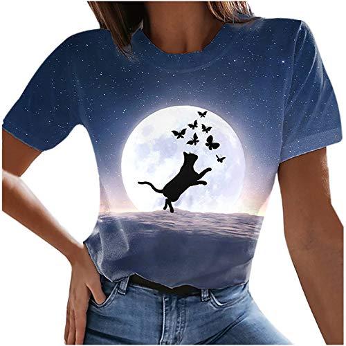 oversize - Maglietta da donna estiva a maniche corte, scollo rotondo, con stampa 3D, motivo a gatto, per ragazze, casual, slim fit A03 L