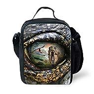 Showudesigns Cool Dinosaur Lunch Bag with Long Strap Bottle Pocket for Kids Boys