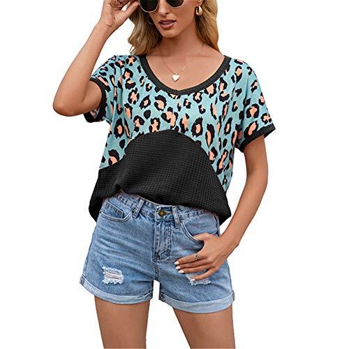 ZFQQ Camiseta de Manga Corta con Cuello en V de Manga Corta con Estampado de Leopardo y Costura para Mujer de Primavera y Verano