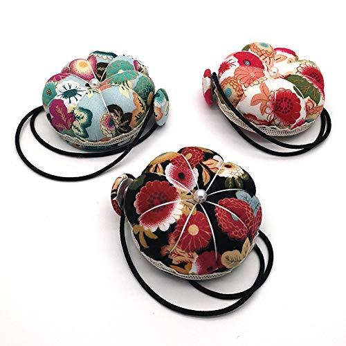Cyleibe Alfiletero de muñeca, cojín de alfiler, diseño floral, vintage, para máquina de coser, para costura, accesorios de costura, manualidades (rojo, negro y verde, 3 unidades)