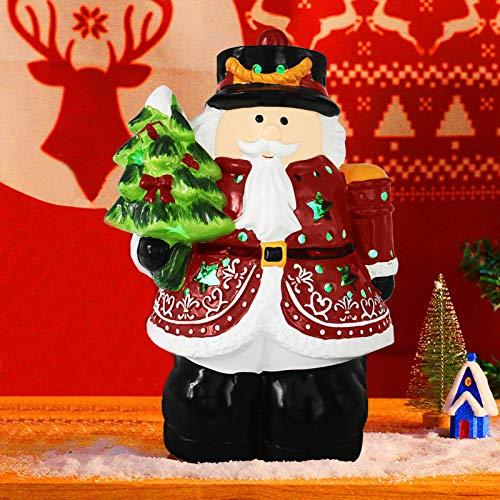 "MINILIFE 8.6"" Pre Lit Ceramic Santa Claus Figurine with Christmas Tree, Christmas Night Light Shiny Holiday Decoration for Tabletop, Xmas, Indoor"
