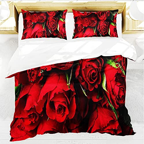 Nordica Cama 135, Patrón de Rosas Rojas, Juego de Fundas de edredón 220x230 cm, de fácil Cuidado, 100% Microfibra, Suave y cómoda, con 2 Fundas de Almohada 50x80 cm