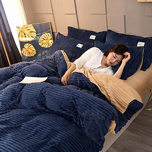 geek cook Bedding Set,Four-piece flannel coral velvet magic velvet crystal velvet thick warmth sheet duvet cover bedding-Silver_1.8m (6 feet) bed