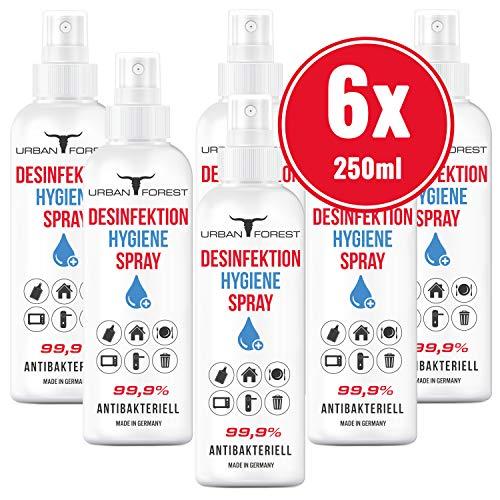 Hygiene Sprühdesinfektion für Hände und Oberflächen 99,9% | unterwegs & zuhause URBAN Forest (6X 250ml)