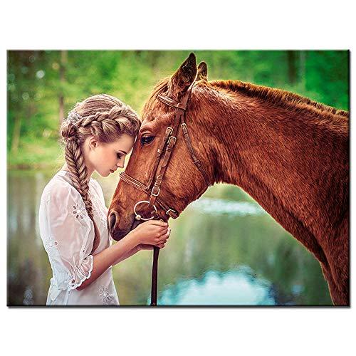 XDFGV 5D Diy Diamond Painting, Rhinestone Animal Art Painting, Home Decoration Embroidery-Horse Girl 40X50cm