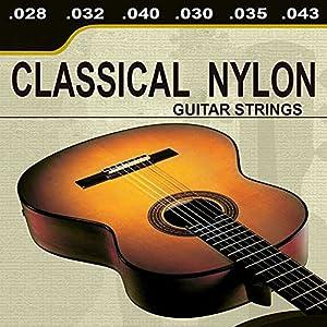 Set de 6 cuerdas de nylon para guitarra clasica. Calibres: - .028 - .032 - .040 - .030 - .035 - .043.